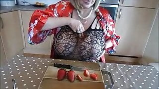 eating strawberries in my new BODYSTOCKING
