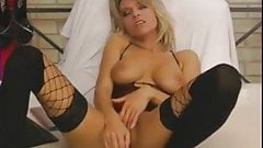 Hot amateur blonde MILF in black stocking using big dildo