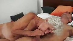 Grandma strokes for cum in mouth