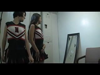 Carpet munchin teen cheerleaders in the lockerroom - Two teen cheerleaders uses guy for they joy