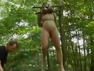 Hanged by breast Hanged by the boobs in the forest