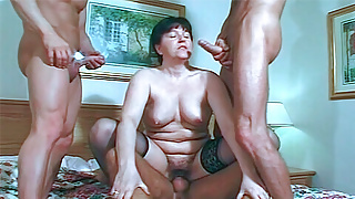 Older housewife takes on 4 eager cocks and gets cum covered