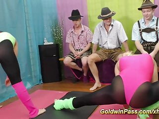 Aerobic sexy video Lederhosen aerobic gangbang orgy