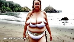 Huge tits BBW beauty emerges from the sea