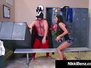 Boy severly spanked by women wrestlers Nikki benz jessica jaymes makes pro wrestler shoot his cum
