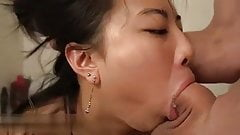 Cute Asian girl in bathroom