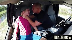 Desperate blond guy gags on hard cock before anally drilled