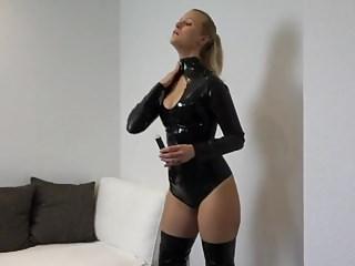 Fucking cute looking girlfriend Cute girlfriend fucked in latex catsuit