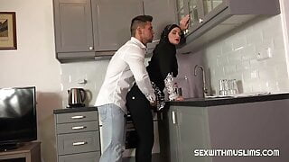 Hot muslim fucked hard in the kitchen