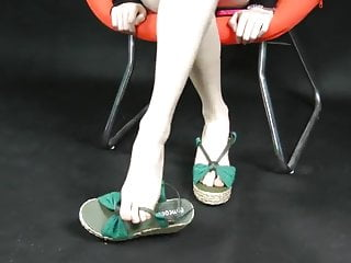 Sexy wedge sandal - Asian feet showing in wedge espadrille style sandals. zoom.
