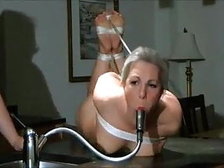 Faucet masturbation Naked girl gagged with faucet