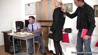 Two dudes fuck skinny blonde granny on interview