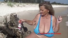 Huge saggy tits wife smokes a slim cigar