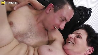 Granny is happy to take a young cock