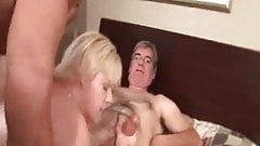 Cuckold MILF with two hired bulls Sissy husband cleans up