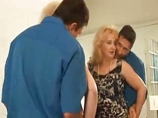 Hairy chubby gallery - Hairy chubby blonde in stockings fucks