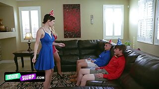 Perfect Milfs In Mini Dress Decide To Set Up A Swap Surprise