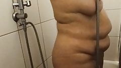 My saggy wife in shower