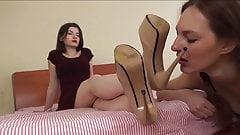 Russian lesbian dirty shoe cleaning