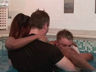 Black girls anal double penetration Slender black girl gets fucked by two white studs in the pool