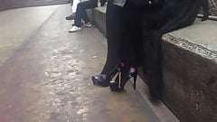 Cute Japanese girl in heels smoking