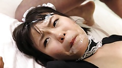Japanese maid, Ai Mashiro enjoys a foursome, uncensored