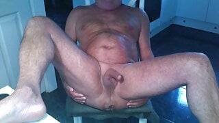 male ass hole blowing air and large hard on dick