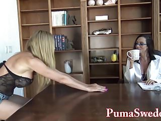 Puma swede lesbian doggy - Busty babe arielle makes puma swede her sex toy