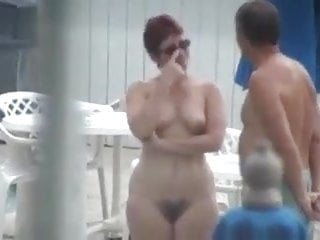 Nude chubby woman bush - Cute mature with full bush nude by the pool