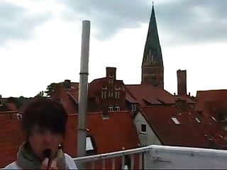 Roof sex top Chubby teen dildos on roof