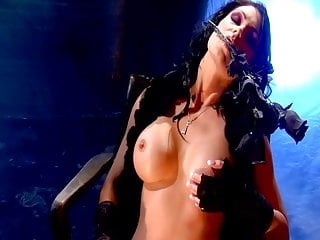 Leather and tits Lesbian mature and chick in leather and fishnets