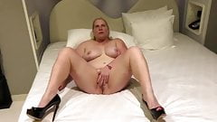 Slut wife Anna spreading her legs and rubbing her pussy