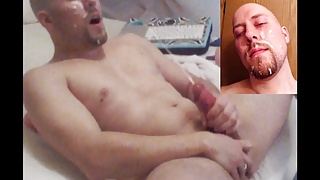 Cam show ends with HUGE self facial!!