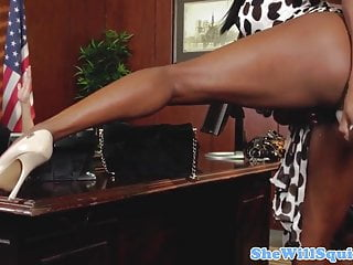 Fist black officer Squirting ebony babes make guys office messy