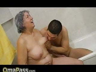 Granny hairy bathing Very old chubby granny playing with couple in bath