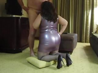 Pantyhose dress gallery Purple latex dress, blow job