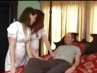 Examine naked Man in panties getting examined by nurses