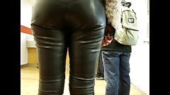 Candid Leather (White chick in leather pants)