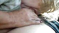 Grandma Sucks and Swallows in the Car