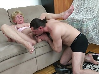 60 granny lesbian tube - 60 granny fucks with younger loverboy