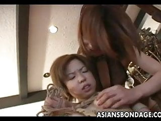 Bondage domme Captivating japanese babe fingered by her domme