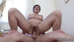 73yr old Hairy Granny Seduce to Anal Fuck by 18yr old Boy