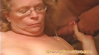 NASTY Granny gets FED her CREAM PIE