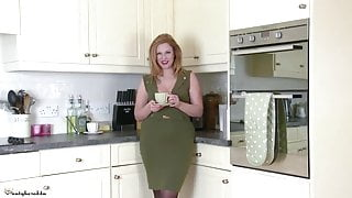In the kitchen in tights
