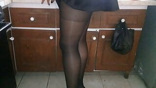 Pantyhose in the kitchen