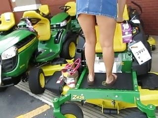 Used zero-turn mower hustler Public pussy flashing on lawn mower