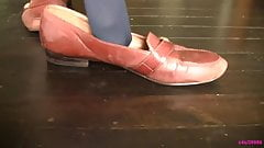 Caroline's brown work loafers