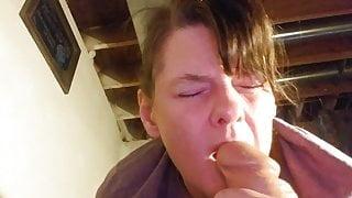 Orgasm while sucking a huge dildo