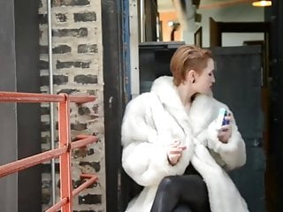 Pierced tit hardcore leather Pierced babe smoking in fur leather