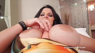 Big Titted Phat Assed Angelina Castro Plays With Huge Dildo